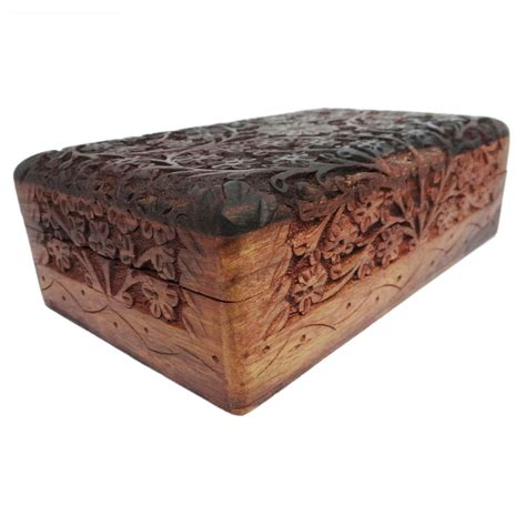 carved jewelry wooden box decorative vintage style