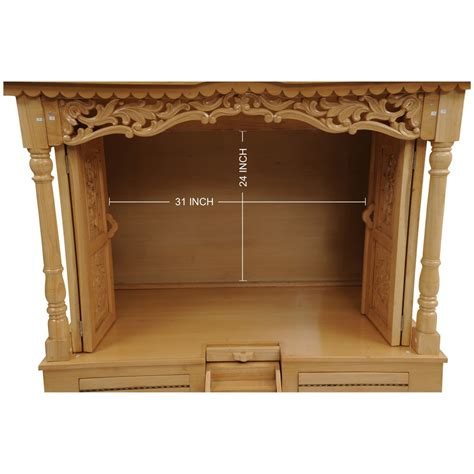 carved three dome wooden pooja mandir for home pooja