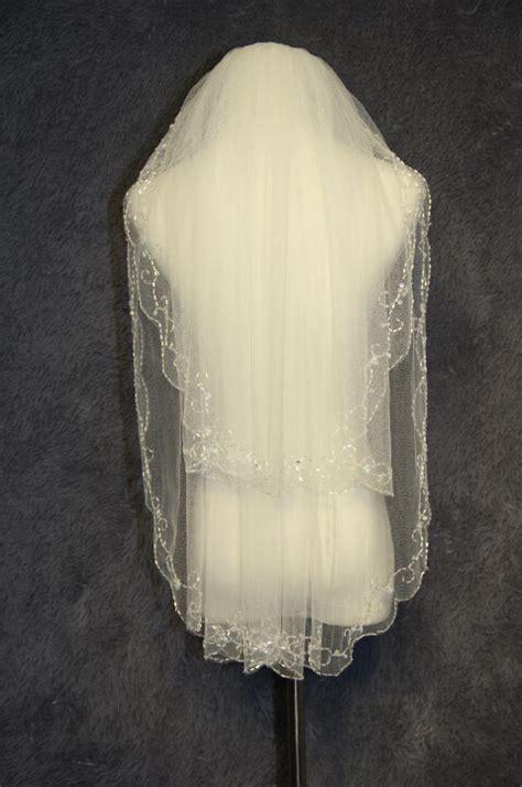 Handmade Veil - 2 layer bridal veil handmade beaded beaded bridal veil white