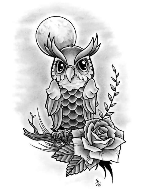 owl on branch and grey rose tattoos design tattoo ideas