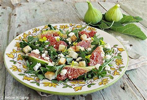 cucinare rucola insalata di rucola e portulaca con fichi e feta ricetta