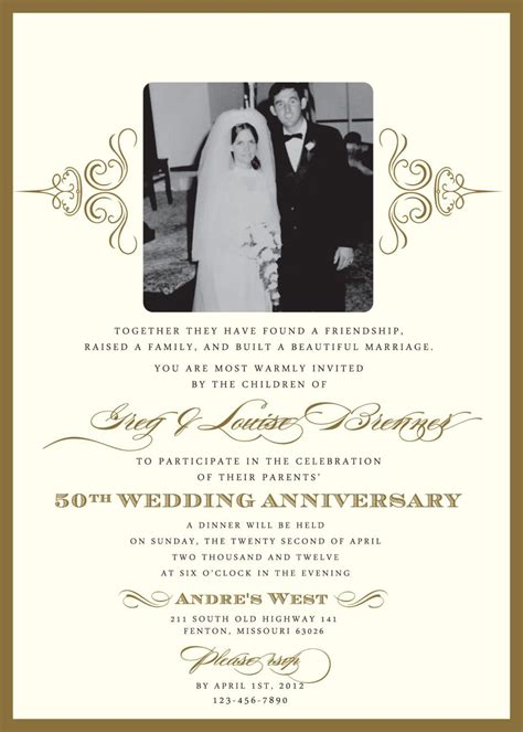 free anniversary invitation card templates golden wedding anniversary invitation golden wedding