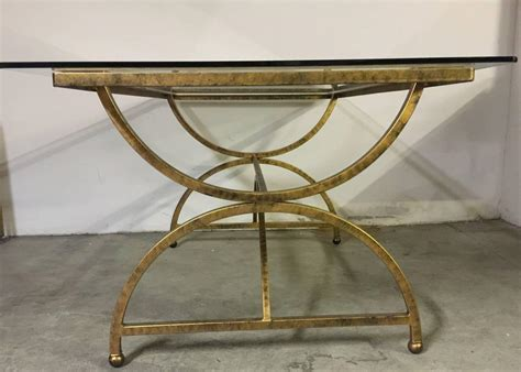 gilded metal dining table with glass top at 1stdibs