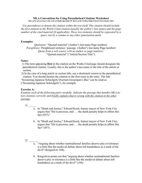 Mla Citation Practice Worksheet by Mla Citation Worksheet Worksheets Releaseboard Free