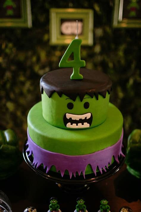 karas party ideas cake   incredible hulk themed birthday party  karas party ideas