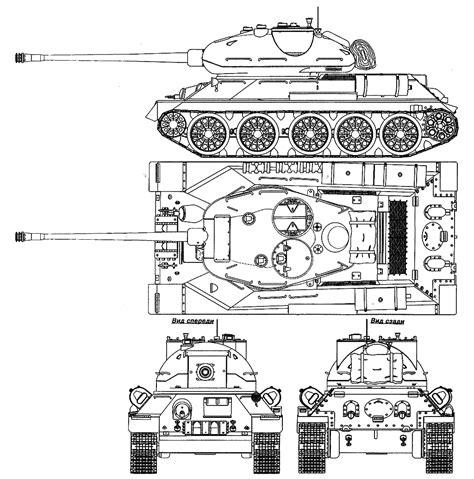 T-34-85 (Vozilo A prototype) Blueprint - Download free ... T 34 Blueprints