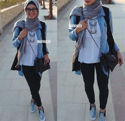 Blouse Denim Grey Atasan Muslim Blouse Muslim black and jacket fashion and