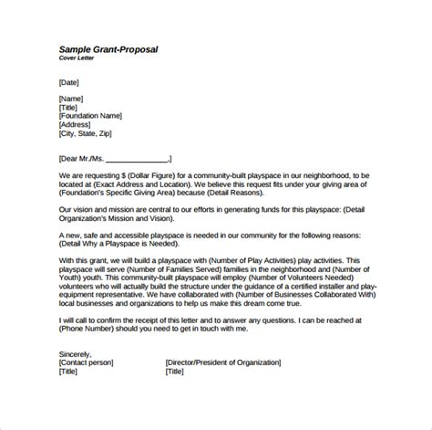 cover letter for grant application exles grant template 12 free documents in