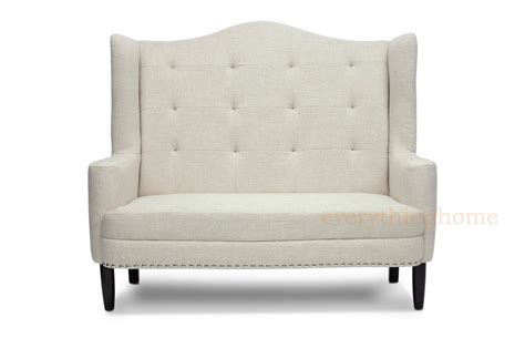 New Settee Modern Beige Gray Grey Linen Tufted Banquette Sofa