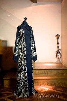 Fadya Maxy al mazyoona black white tapework abaya dubai arabic