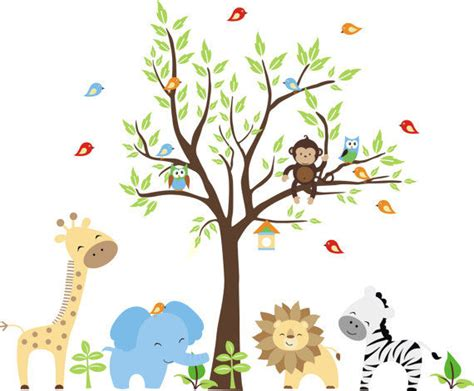 Nursery Wall Stickers Jungle nursery jungle wall mural stickers
