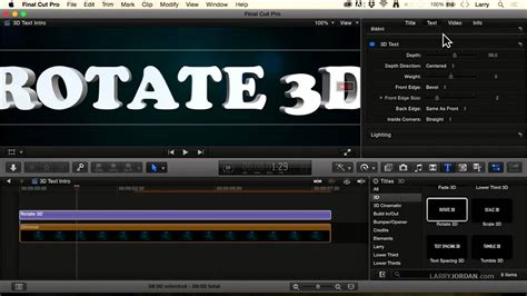 final cut pro add text examining 3d text in final cut pro x 10 2 youtube