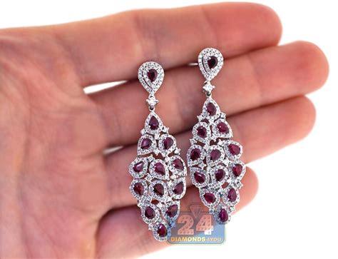 Huge Chandelier Earrings Womens Ruby Diamond Chandelier Earrings 18k White Gold 7 24 Ct