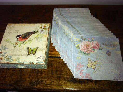 vintage rose shabby chic placemats trays bird napkins box