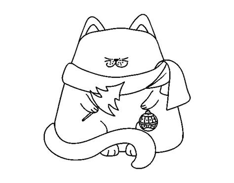 cat with christmas decorations coloring page