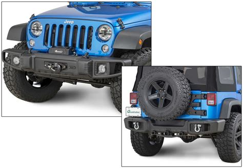 jeep yj rear bumper tactik front rear bumper with led fog ls for 07 18