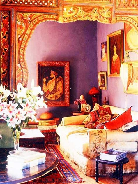 colorful india inspired interiors paint pattern
