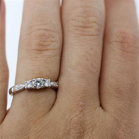 1 Engagement Rings by 14k White Gold 1 2 Carat Three Engagement Ring