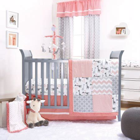 Giraffe Nursery Bedding Set The Peanut Shell 4 Baby Crib Bedding Set Uptown Coral And Grey Giraffe Patchwork
