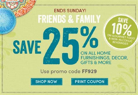 world market coupon friends and family save 25