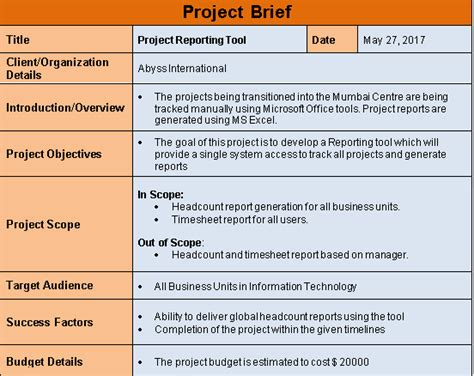 Management Briefformat Project Brief Template Word Free Free Project Management Templates