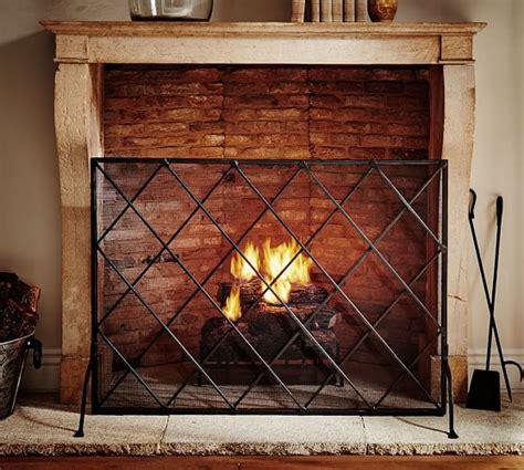 lattice fireplace single screen pottery barn