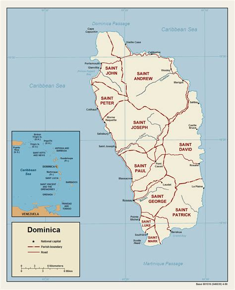 dominica on a map dominica geographischen karte