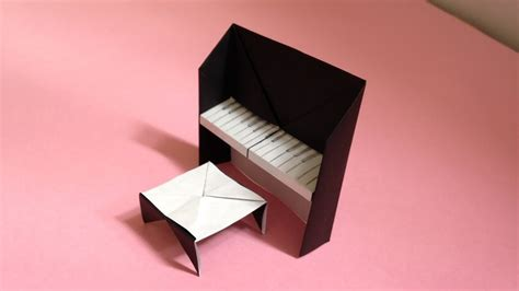 Origami Piano - origami piano chair for dollhouse 折り紙のピアノの椅子