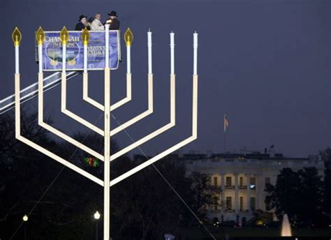 menorah house jewish supremacists hoist menorah but demand christian cross comes down david
