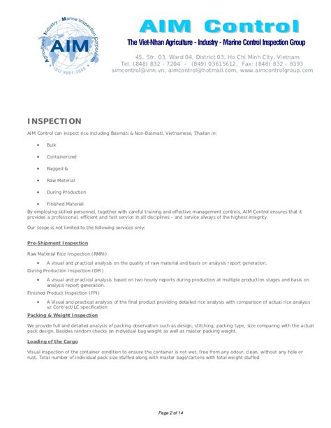 certificate of quality and quantity template white rice analysis inspection on quality quantity for
