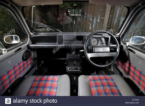 renault 4 interior renault 4 classic french small car interior stock photo