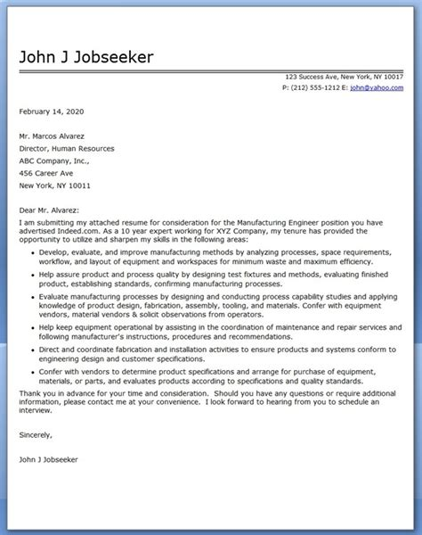 Manufacturing Cover Letter Exles cover letter for manufacturing engineer resume downloads