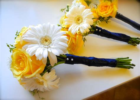 Bridesmaid Bouquet Yellow by The Flower White Yellow Navy Blue And Green