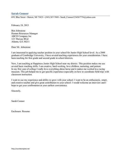 Teacher Cover Letter Template   Free Microsoft Word Templates