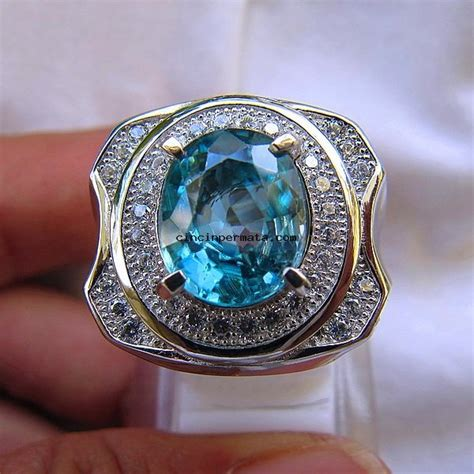 batu mulia blue zircon top quality cincinpermata