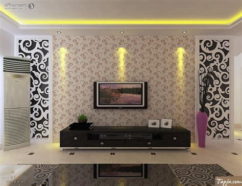 wallpaper design for tv unit delightful living room interior decorating with wallpaper