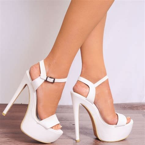 High Heels 2 White Murah koi couture white faux leather strappy sandals platforms high heels