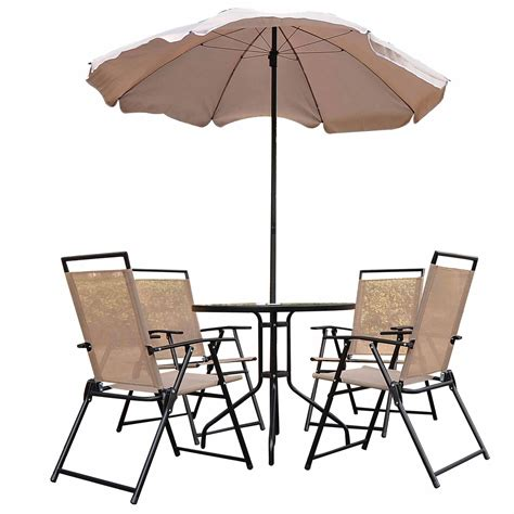 Bistro Set 6 Piece Table Chairs Outdoor Patio Aosom Patio Table 6 Chairs