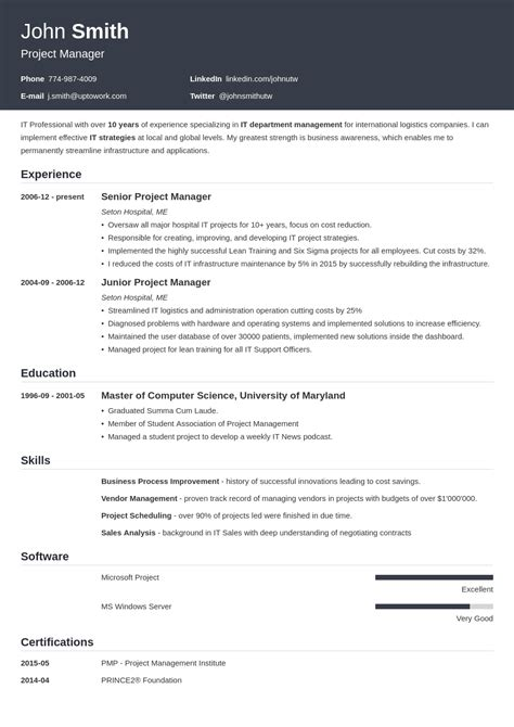Resume Templated by 20 Resume Templates Create Your Resume In 5