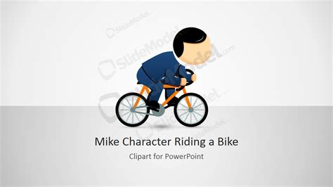 Mike Male Cartoon Character Riding A Bike Slidemodel Bike Ppt Templates Free