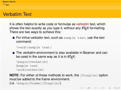 latex verbatim tutorial beamer tutorial