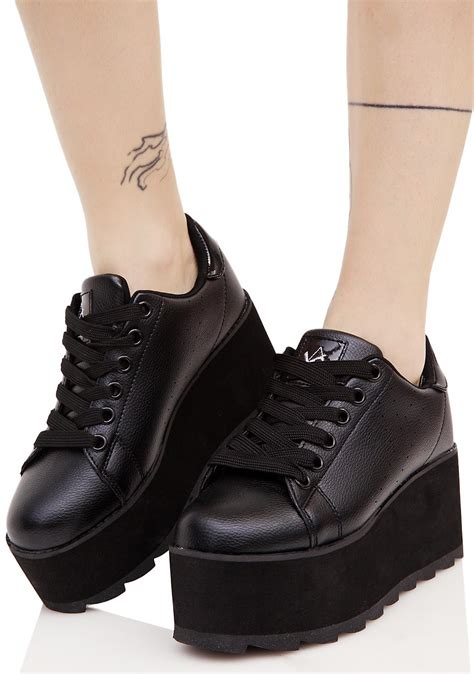 Platform Shoes by Y R U Black Lala Platform Sneakers Dolls Kill