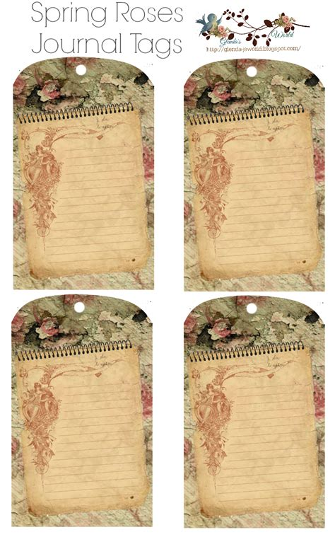 printable journal tags glenda s world spring roses journal tags