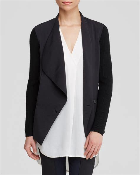 drape jacket vince jacket knit sleeve drape front in black lyst
