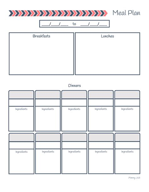 meal planning worksheet how to save money at the grocery store free printables suite