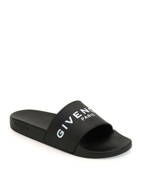 givenchy mens sandals givenchy logo print rubber slide sandals in black for