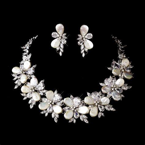 gorgeous cz pearl bridal necklace set bridal