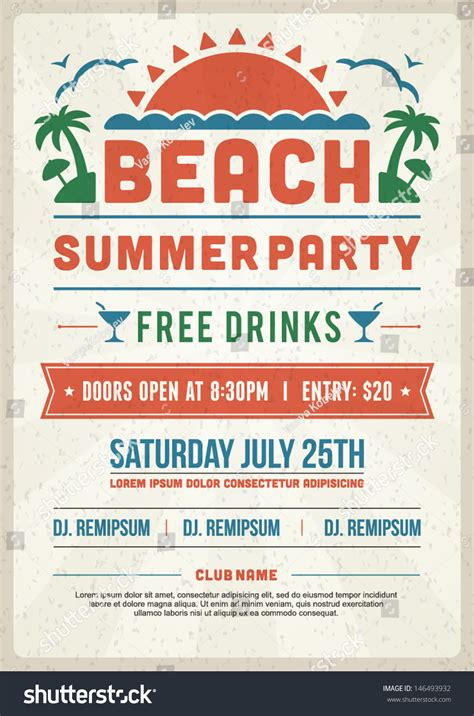 typography flyer retro summer design poster or flyer club event typography vector template