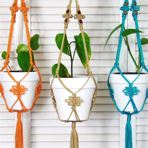 Macrame Flower Pot Holder - jute hanging planter macrame pot holder modern macrame