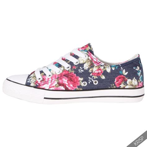 floral sneaker womens floral plain leopard low top fashion trainers flat